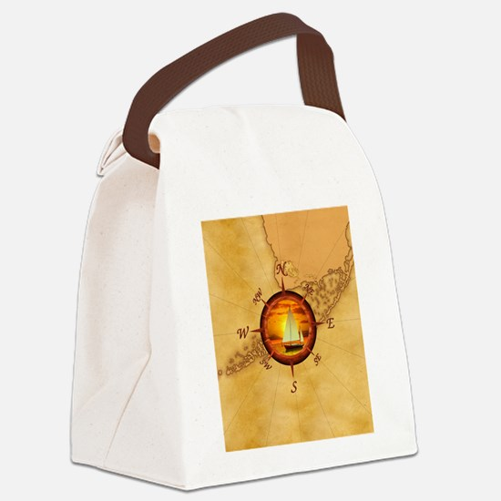 Florida Keys Map Compass Canvas Lunch Bag
