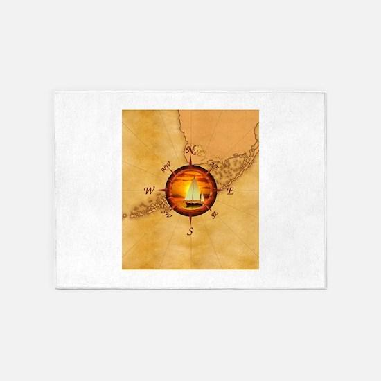 Florida Keys Map Compass 5'x7'Area Rug