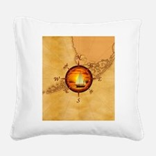 Florida Keys Map Compass Square Canvas Pillow