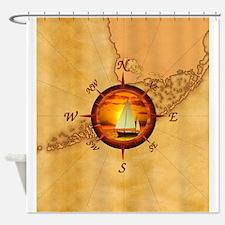 Florida Keys Map Compass Shower Curtain