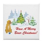 Christmas Boxer Tile Coaster