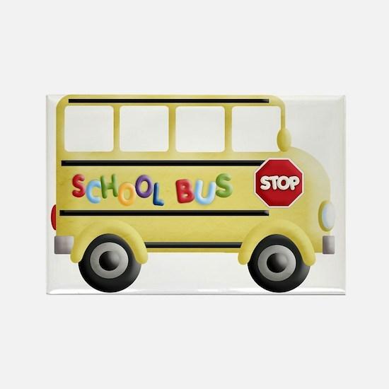 cute yellow school bus Rectangle Magnet