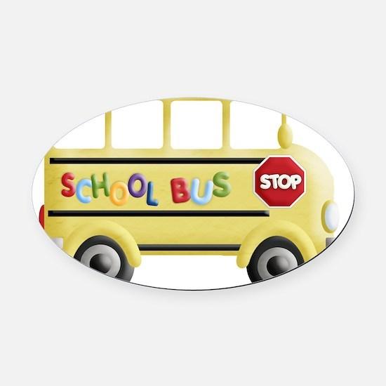 cute yellow school bus Oval Car Magnet