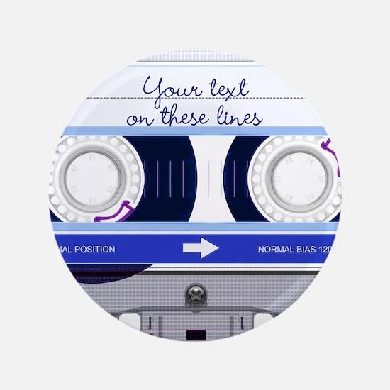 "Cassette Tape - Blue 3.5"" Button (100 pack)"