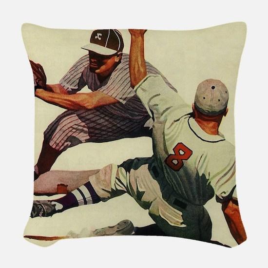 Vintage Sports Baseball Woven Throw Pillow