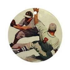 Vintage Sports Baseball Round Ornament