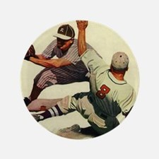 "Vintage Sports Baseball 3.5"" Button"