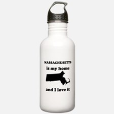 Massachusetts Is My Home And I Love It Water Bottl