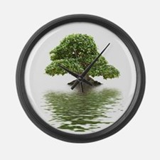 ficus water reflection Large Wall Clock