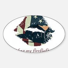 firefighterkiss.png Sticker (Oval)