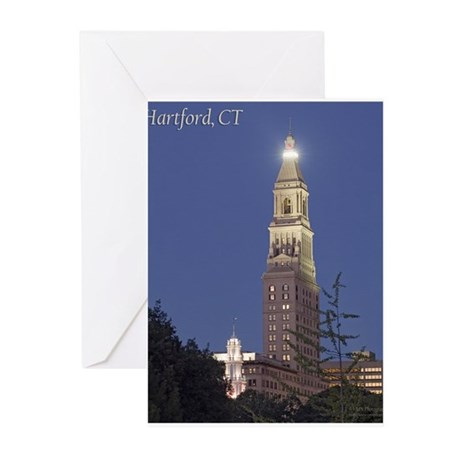 Travelers Tower at Night Greeting Cards (Package o