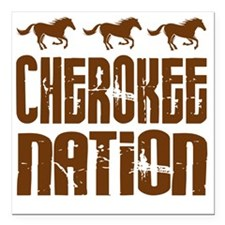 "Cherokee Nation With Hor Square Car Magnet 3"" x 3"""