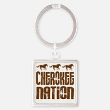 Cherokee Nation With Horses Square Keychain