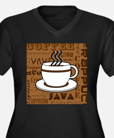 Coffee Words Jumble Print - Brown Plus Size T-Shir