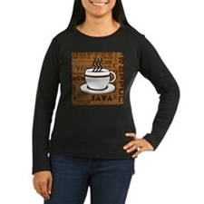 Coffee Words Jumble Print - Brown Long Sleeve T-Sh