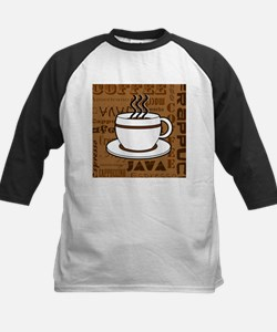 Coffee Words Jumble Print - Brown Baseball Jersey