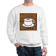 Coffee Words Jumble Print - Brown Sweatshirt