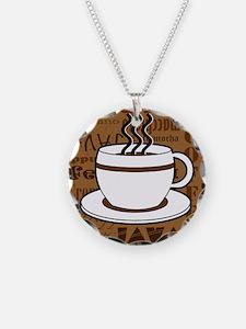 Coffee Words Jumble Print - Brown Necklace