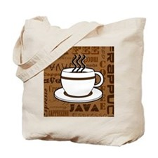 Coffee Words Jumble Print - Brown Tote Bag