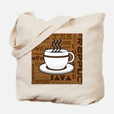 Coffee Words Jumble Print - Brown Tote Bag
