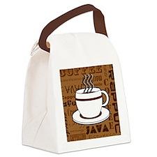 Coffee Words Jumble Print - Brown Canvas Lunch Bag