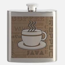 Coffee Words Jumble Print - Brown Flask