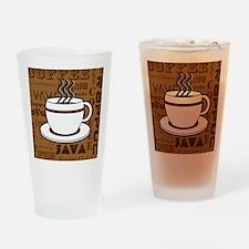 Coffee Words Jumble Print - Brown Drinking Glass