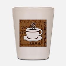 Coffee Words Jumble Print - Brown Shot Glass