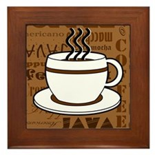 Coffee Words Jumble Print - Brown Framed Tile
