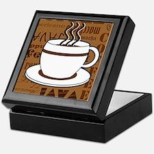 Coffee Words Jumble Print - Brown Keepsake Box