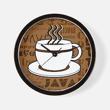 Coffee Words Jumble Print - Brown Wall Clock