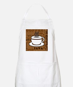 Coffee Words Jumble Print - Brown Apron