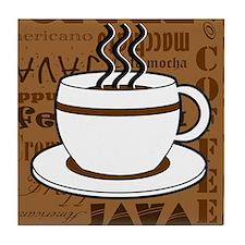 Coffee Words Jumble Print - Brown Tile Coaster