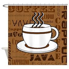 Coffee Words Jumble Print - Brown Shower Curtain