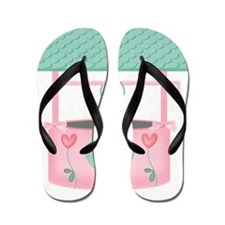 pastel wishing well with hearts Flip Flops
