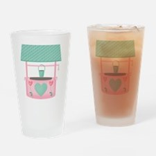 pastel wishing well with hearts Drinking Glass
