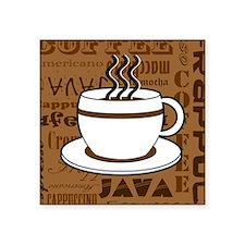 Coffee Words Jumble Print - Brown Sticker