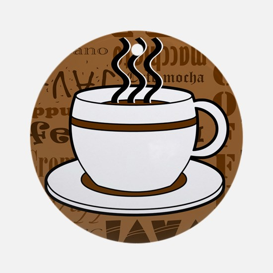 Coffee Words Jumble Print - Brown Ornament (Round)