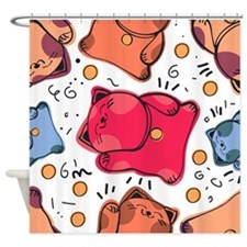 Japanese Fortune Cat Shower Curtain