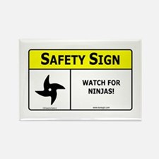 Watch For Ninjas! Rectangle Magnet