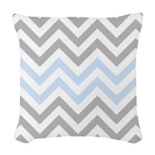 Grey and light Blue Chevrons Woven Throw Pillow