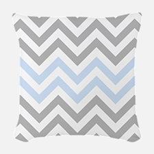Grey and light Blue Chevrons Woven Throw Pillow