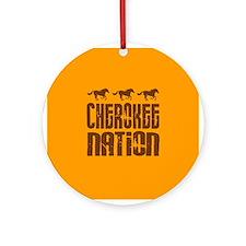 Cherokee Nation With Running Horses Ornament (Roun