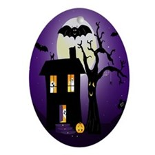 Halloween Pumpkin Haunted House Ornament (Oval)