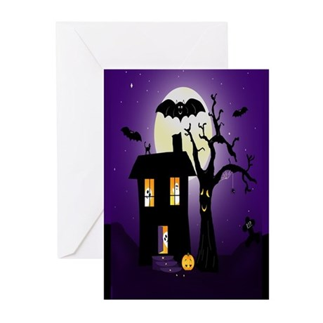 Halloween Pumpkin Haunted House Greeting Cards (Pk