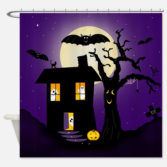 Halloween Pumpkin Haunted House Shower Curtain