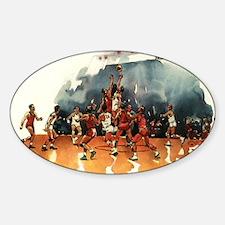Vintage Sports Basketball Sticker (Oval)