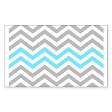 Grey and Sky Blue Chevrons Baby Blanket Decal