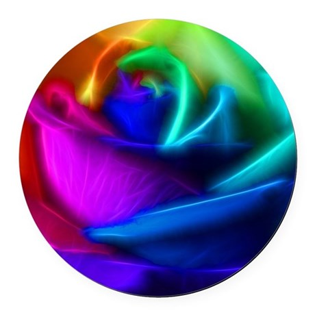 rainbow rose fractal Round Car Magnet