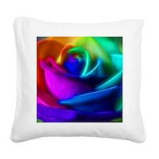rainbow rose fractal Square Canvas Pillow